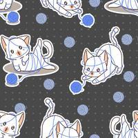 Naadloze schattige kat is ondeugend patroon.