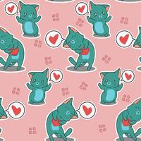 Naadloze 2 katten houden van je patroon. vector