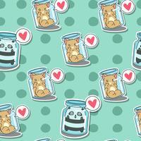 Naadloze kat en panda in flessenpatroon.
