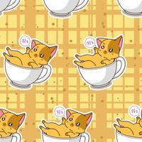 Naadloze schattige kat in een beker patroon. vector