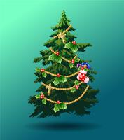 Verfraaide Kerstboom op blauwgroene achtergrond.