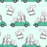 Naadloze getrokken kawaii katten en panda met auto patroon.