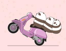 Kawaii 3 panda's rijden op een motorfiets.