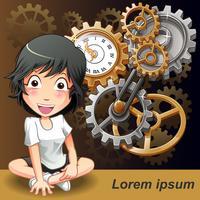 Tijd management concept in cartoon stijl. vector
