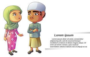 Vector geïsoleerde 2 moslim stripfiguren.