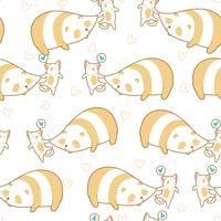 Naadloze kat knijpt panda patroon.