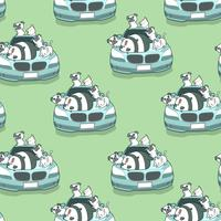 Naadloze kawaii dieren en blauwe auto auto patroon.