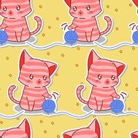 Naadloze schattig roze kat met blauwe garen patroon.