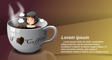 Koffieminnaar in cartoonstijl. vector