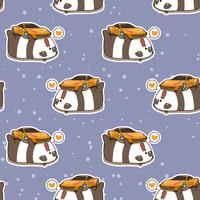 Naadloze kawaii panda houdt van super auto patroon