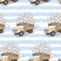 Naadloze getrokken kawaii katten op vrachtwagenpatroon. vector