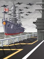 Deze foto is een vectorwereldoorlog in cartoonstijl.