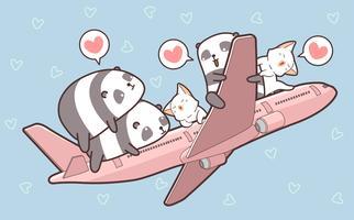 Leuke panda's en katten en in het vliegtuig vector