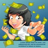 Ze is geld aan het vangen in cartoon-stijl.
