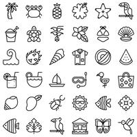 Tropische verwante vector icon set, lijnstijl
