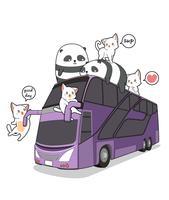 Kawaii katten en panda's op de bus