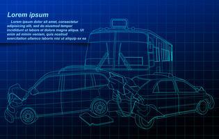 Auto-ongeluk schets op blauwdruk achtergrond.