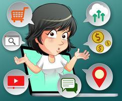 Internet voordelen concept in cartoon stijl. vector