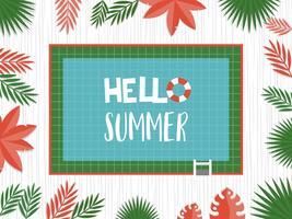 Hallo zomer, bovenaanzicht zwembad vector