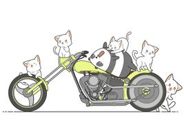 Kawaii panda en katten en motorfiets.