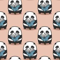 De naadloze panda leest boekpatroon.