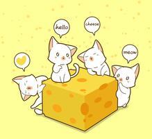 Kawaii katten en kaas vector