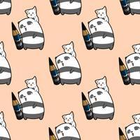 De naadloze pandakunstenaar houdt potlood met het patroon van het kattenkarakter vector