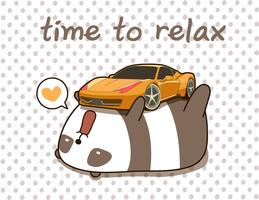 Kawaii panda houdt van superauto