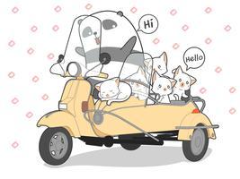 getrokken kawaii katten en panda met motorfiets.