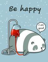 Kawaii panda is ziek vector