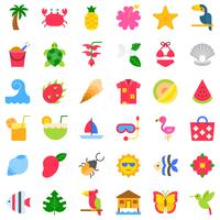Tropische aanverwante vector icon set, vlakke stijl