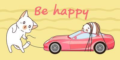 getekende kawaii kat haalt een roze sportwagen.