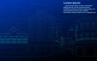 Cityscape wireframe op blauwdrukachtergrond. vector