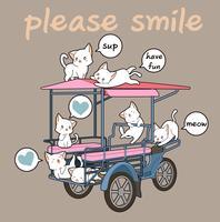 Kawaii katten en vracht voertuig vector