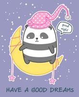 Kawaii panda op de maan zegt goede nacht vector
