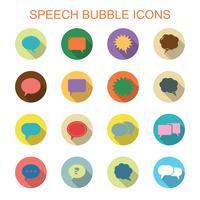 kleurrijke tekstballon lange schaduw pictogrammen
