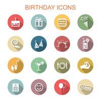 verjaardag lange schaduw pictogrammen vector