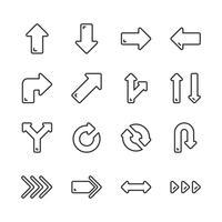 Pijlen pictogramserie. Vectorillustratie