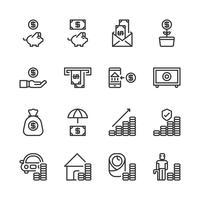 Besparingsgeld en investeringspictogramreeks Vector illustratie