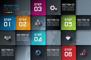 Zakelijke vierkante etiketten vorm infographic met donkere achtergrond.