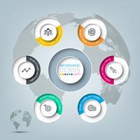 Zes cirkels met zakelijke pictogram infographics. vector