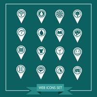 Set van kaartwijzerpictogrammen voor website en communicatie