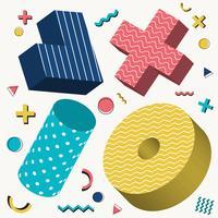 Abstract 3D objecten ontwerp Memphis stijlpatroon met kleurrijke geometrische elementen op witte achtergrond.