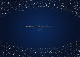 Goud glitter cirkels feestelijk op donkerblauwe achtergrond met ruimte voor uw tekst.