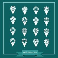 Set van kaartwijzerpictogrammen voor website en communicatie vector