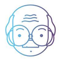 lijn avatar oude man hoofd met kapsel ontwerp vector