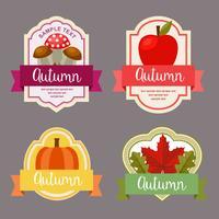 herfstbladeren vlakke stijl label met natuur element