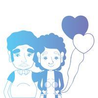 lijn paar samen met kapsel en harten ballonnen