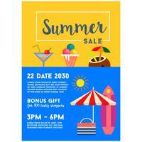 zomer verkoop poster sjabloon belettering vlakke stijl vector