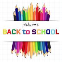 Terug naar school, onderwijs concept achtergrond met schattige kleur potloden